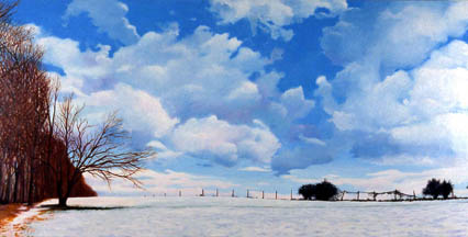 snow trees field sky clouds oil painting Kat O'Connor