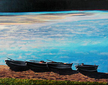 Kat O'Connor boats lake morning Ridin' Hy Lake Warren oil painting