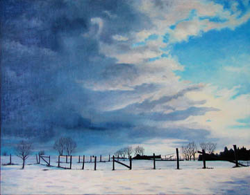Snow clouds field fence New York oil painting Kat O'Connor