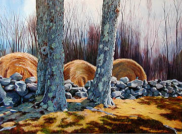 Kat O'Connor stone wall round hay bales Moore State Park Massachusetts bluebird oil painting