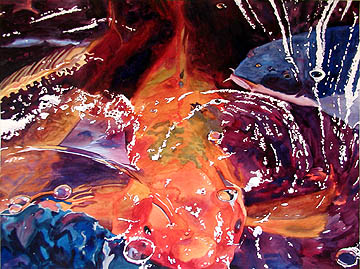 Kat O'Connor koi water swirling watercolor painting