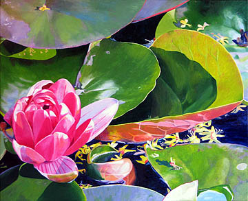 Kat O'Connor lilypads water flower oil painting