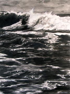 Kat O'Connor ocean graphite drawing waves