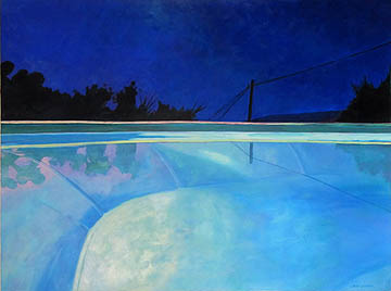 Kat O'Connor night pool Greece acrylic painting