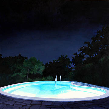 Kat O'Connor oil painting night pool corporate collection