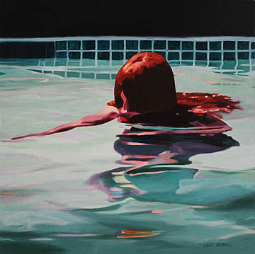 Kat O'Connor girl night pool oil painting