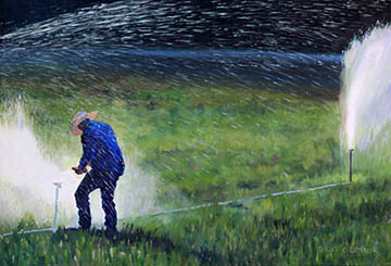 Kat O'Connor cowboy irrigating alfalfa oil painting