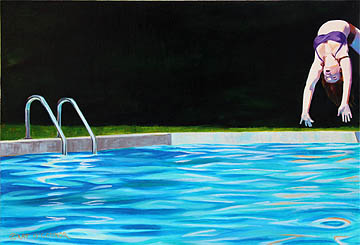 Kat O'Connor oil painting figure pool flip fulcrum