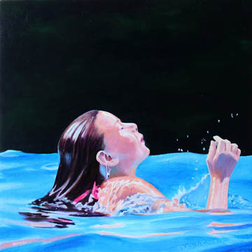 Kat O'Connor oil painting girl in pool