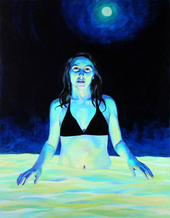 Kat O'Connor Acrylic painting figure night moon pool