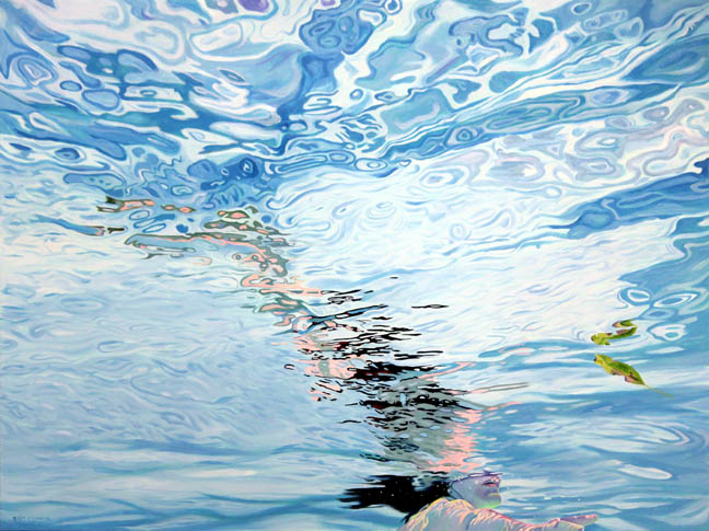 figure water pool self portrait acrylic painting Kat O'Connor