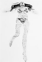 Kat O'Connor drawing conte graphite female figure float swim